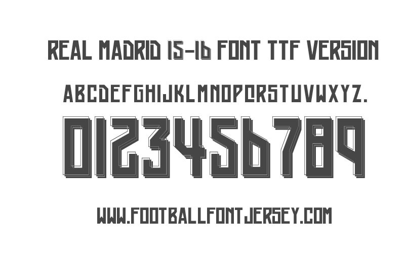 Real Madrid 2015-2016 Font TTF and VECTOR - Football Font Jersey